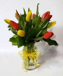 Mixed tulips in a clear glass vase