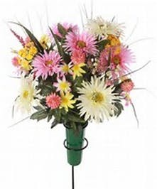 Pictured is a example of a cemetery bouquet